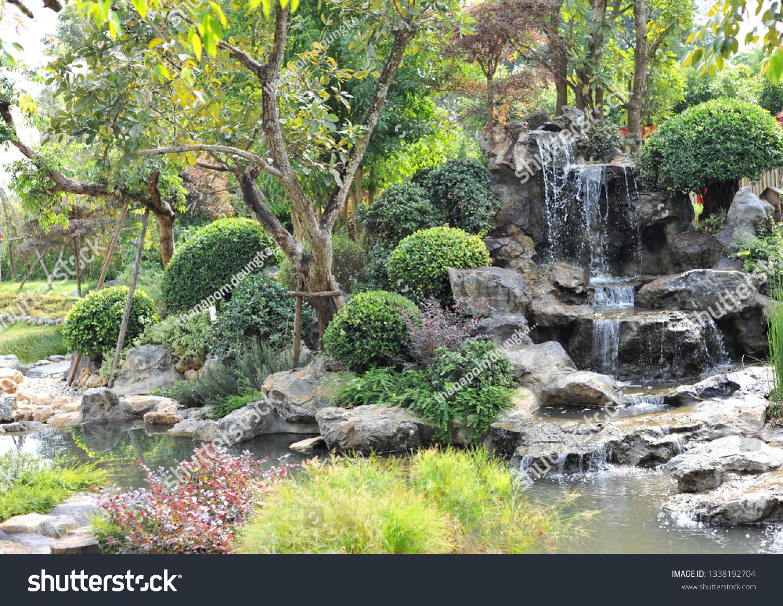 Japanese Garden Landscape Design Stock Photo Edit Now 1338192704