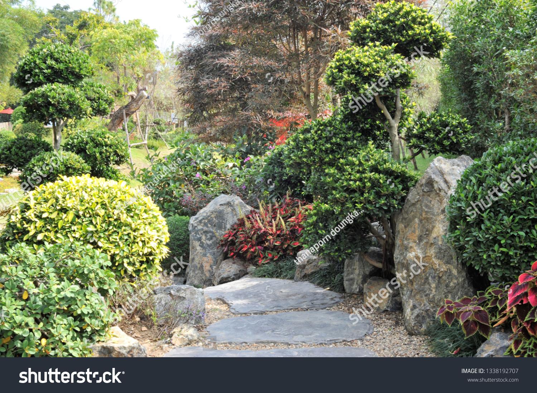 Japanese Garden Landscape Design Stock Photo Edit Now 1338192707