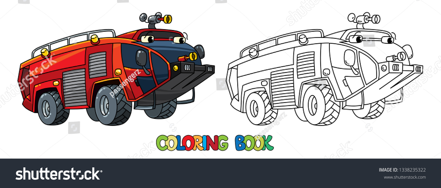 Fire Truck Machine Coloring Book Kids Stock Vector Royalty Free