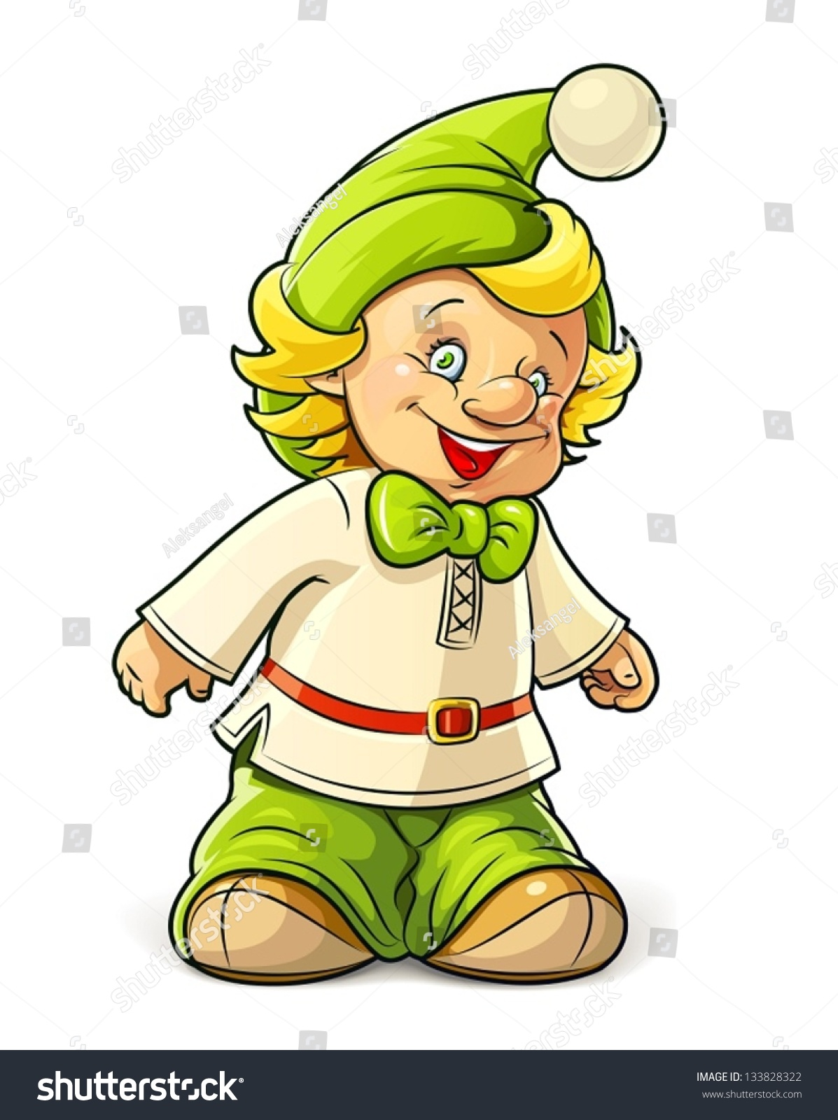 Little Gnome Boy Vector Illustration Isolated Stock Vector