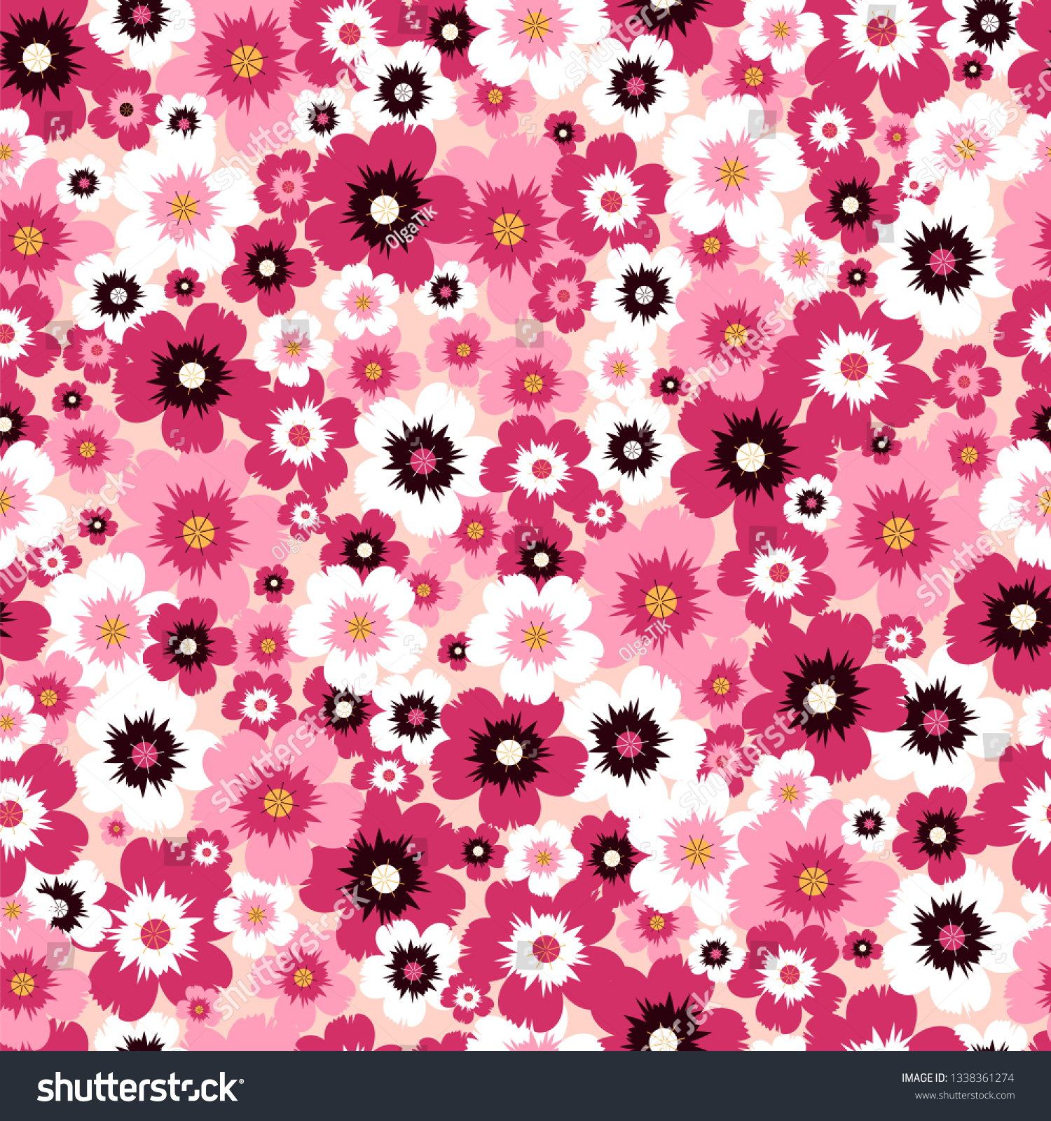 Seamless Background Pink Flowers Flower Wallpaper Stock Vector