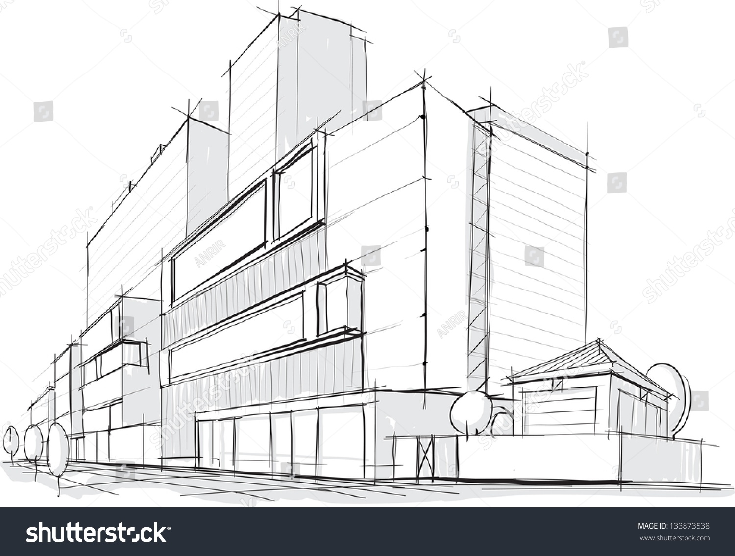 Architectural Sketch Stock Vector 133873538 : Shutterstock