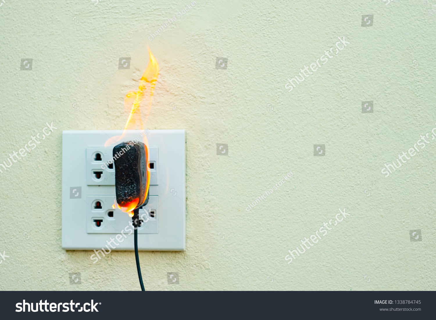 On Fire Electric Wire Plug Receptacle Stock Photo (Edit Now ... Wiring A Plug Outlet on