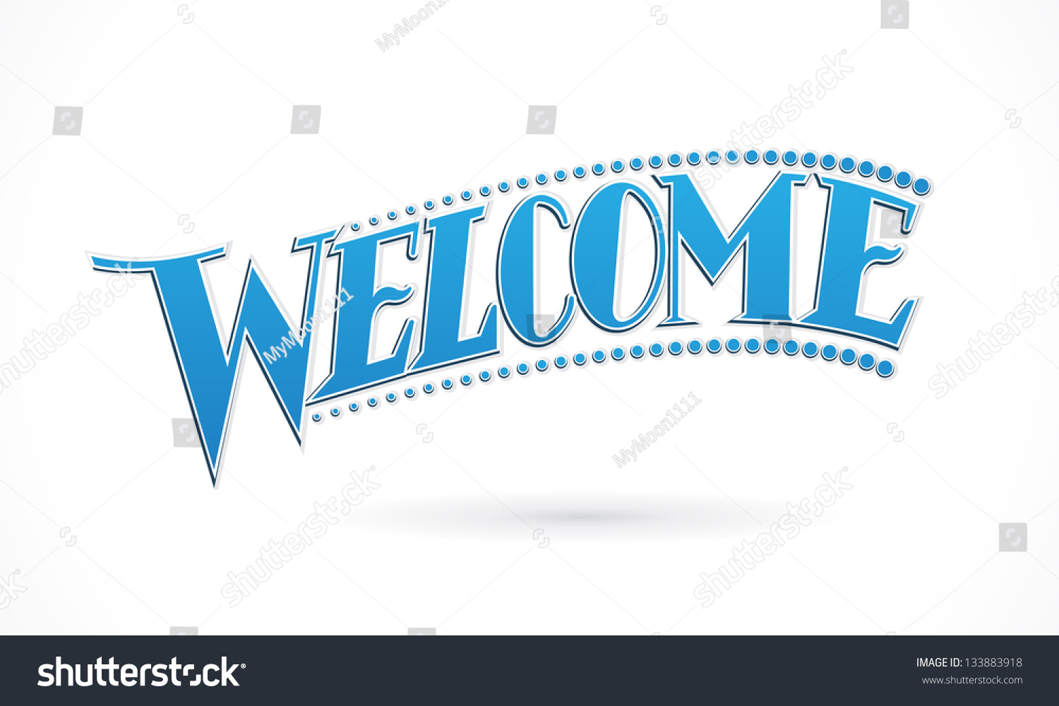 Blue Welcome Lettering Design Vector Stock Vector