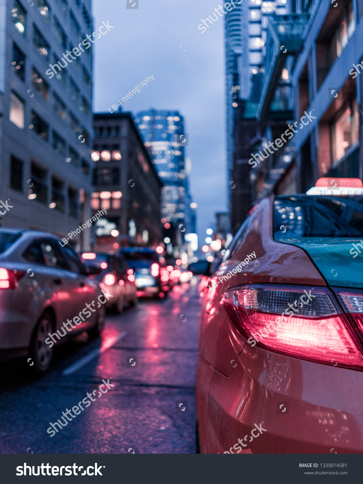 Tax Cab Tail Light Bokeh Cars Stock Photo Edit Now 1339014581