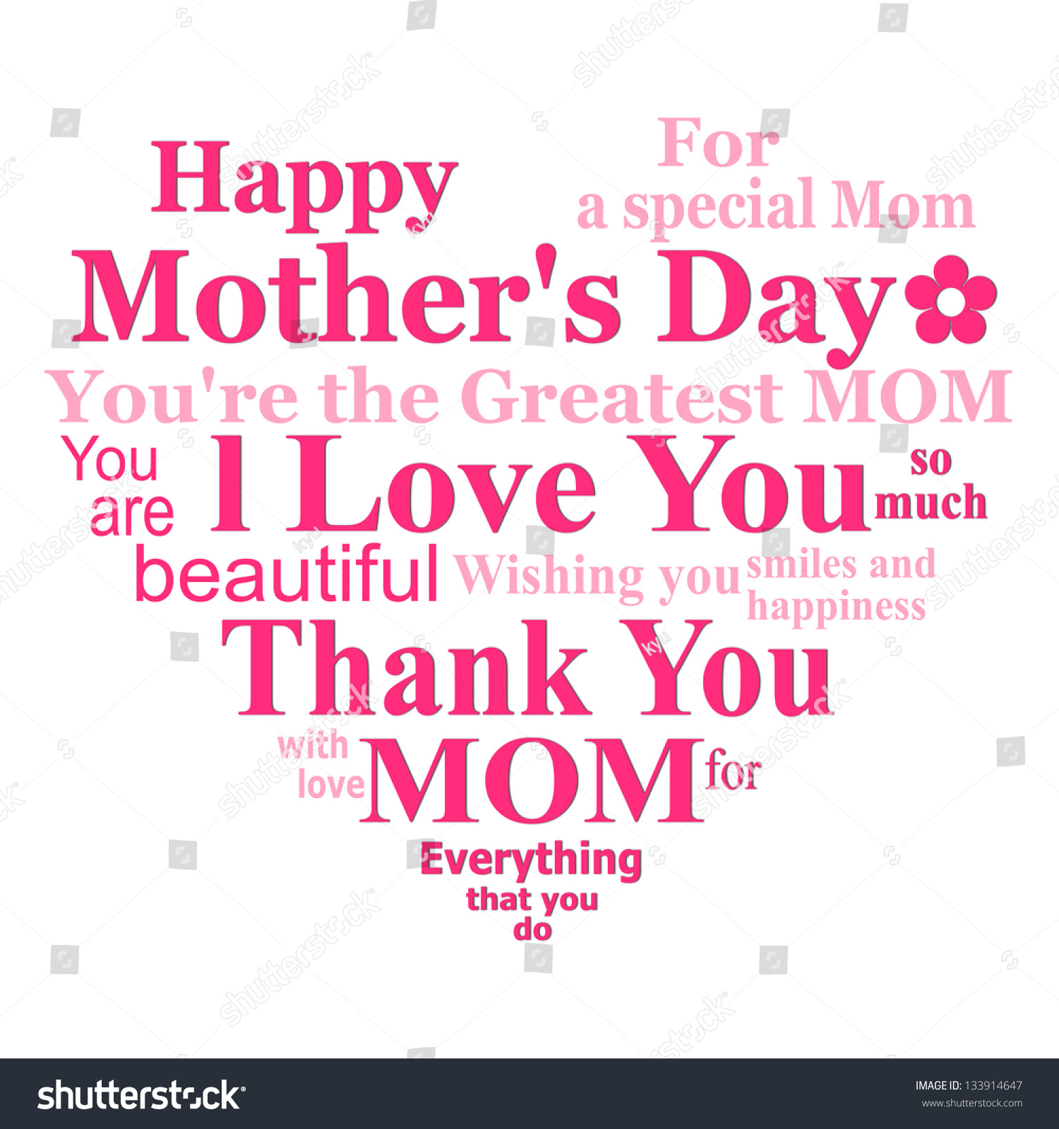 Happy Mothers Day Card Design On White Background