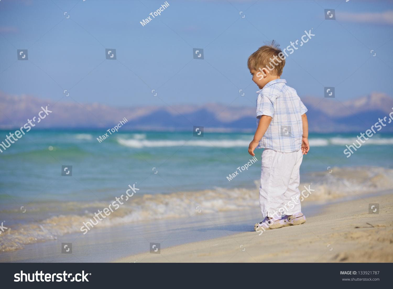 Boy On Beach On Beautiful Sunny Stock Photo 133921787 ... - photo#39