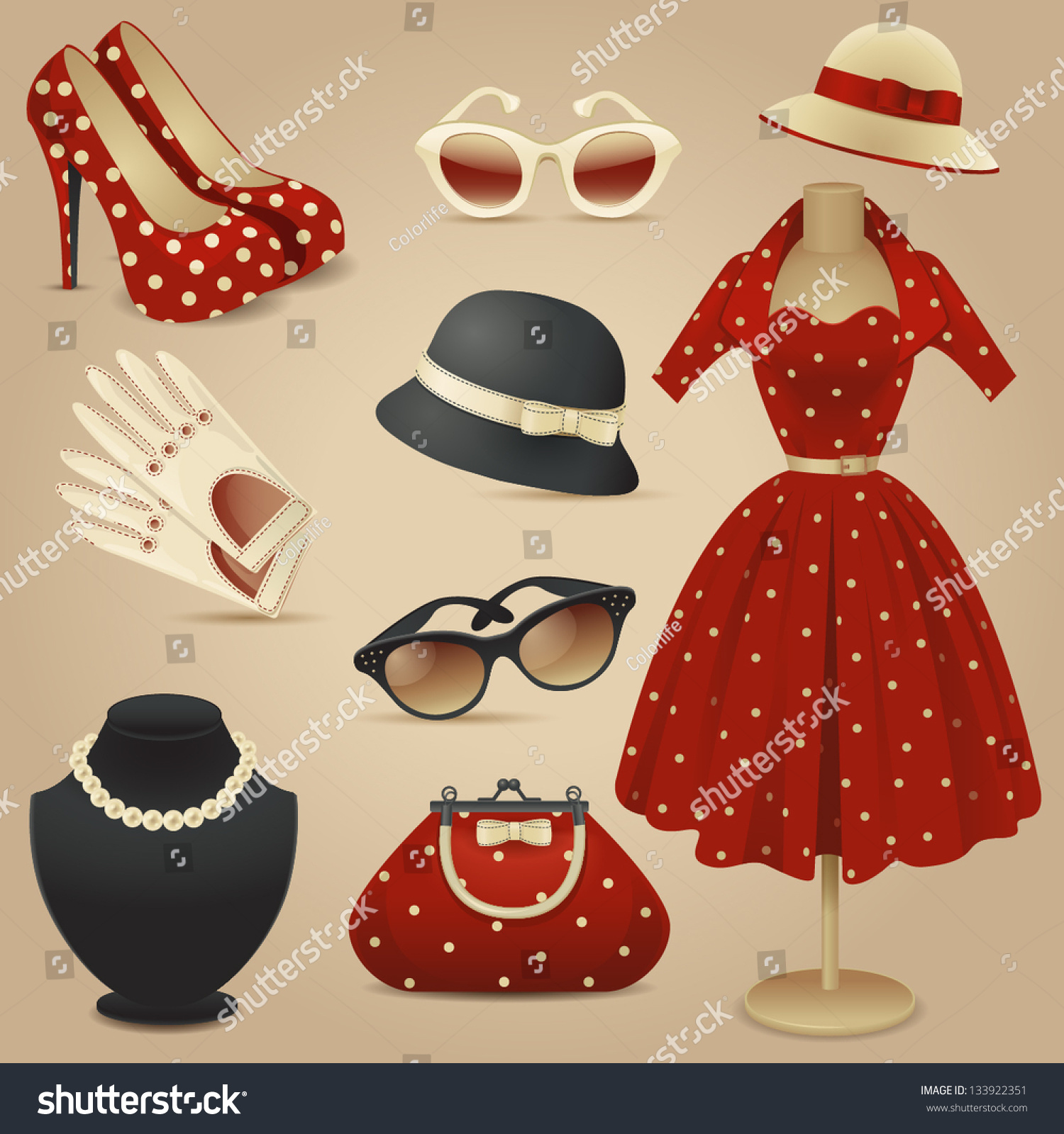 Lady retro fashion accessories illustration vectorielle libre de droits 133922351 shutterstock - Retro stuhle gunstig ...