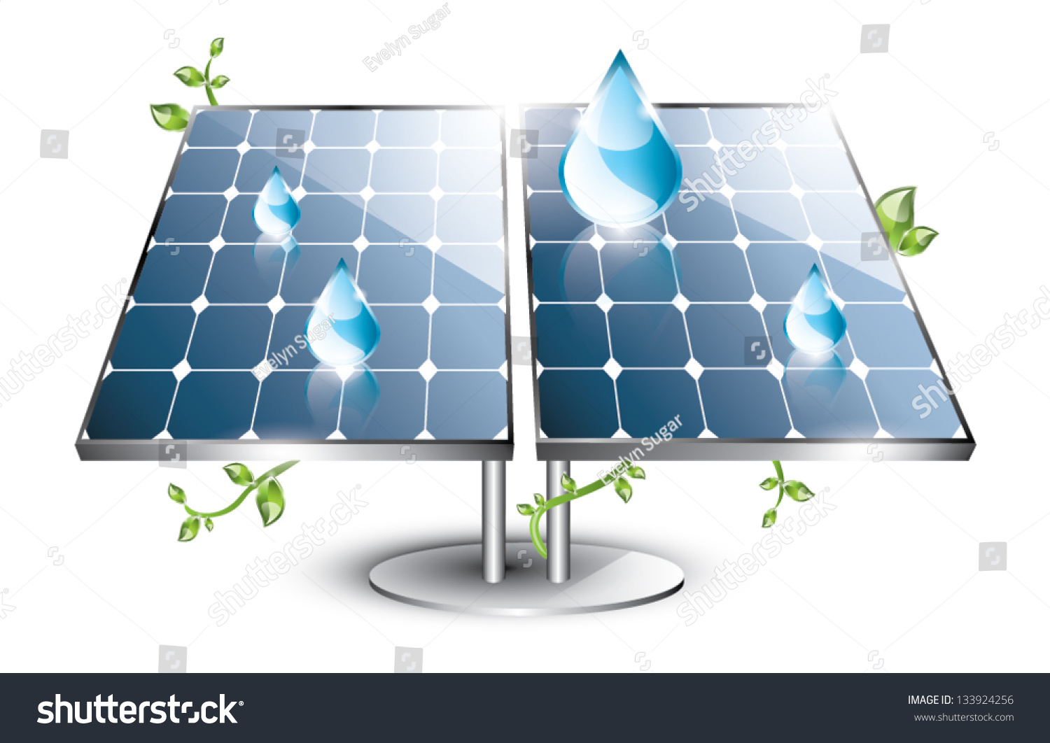 Solar Panel Swirling Plants Blue Drops Stock Vector 133924256 ...