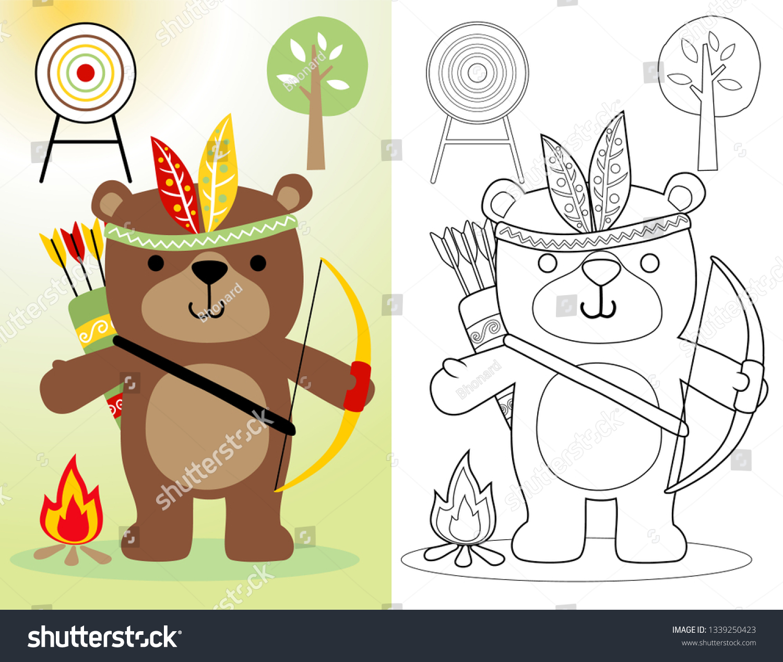 - Coloring Book Page Funny Bear Cartoon Stock Vector (Royalty Free