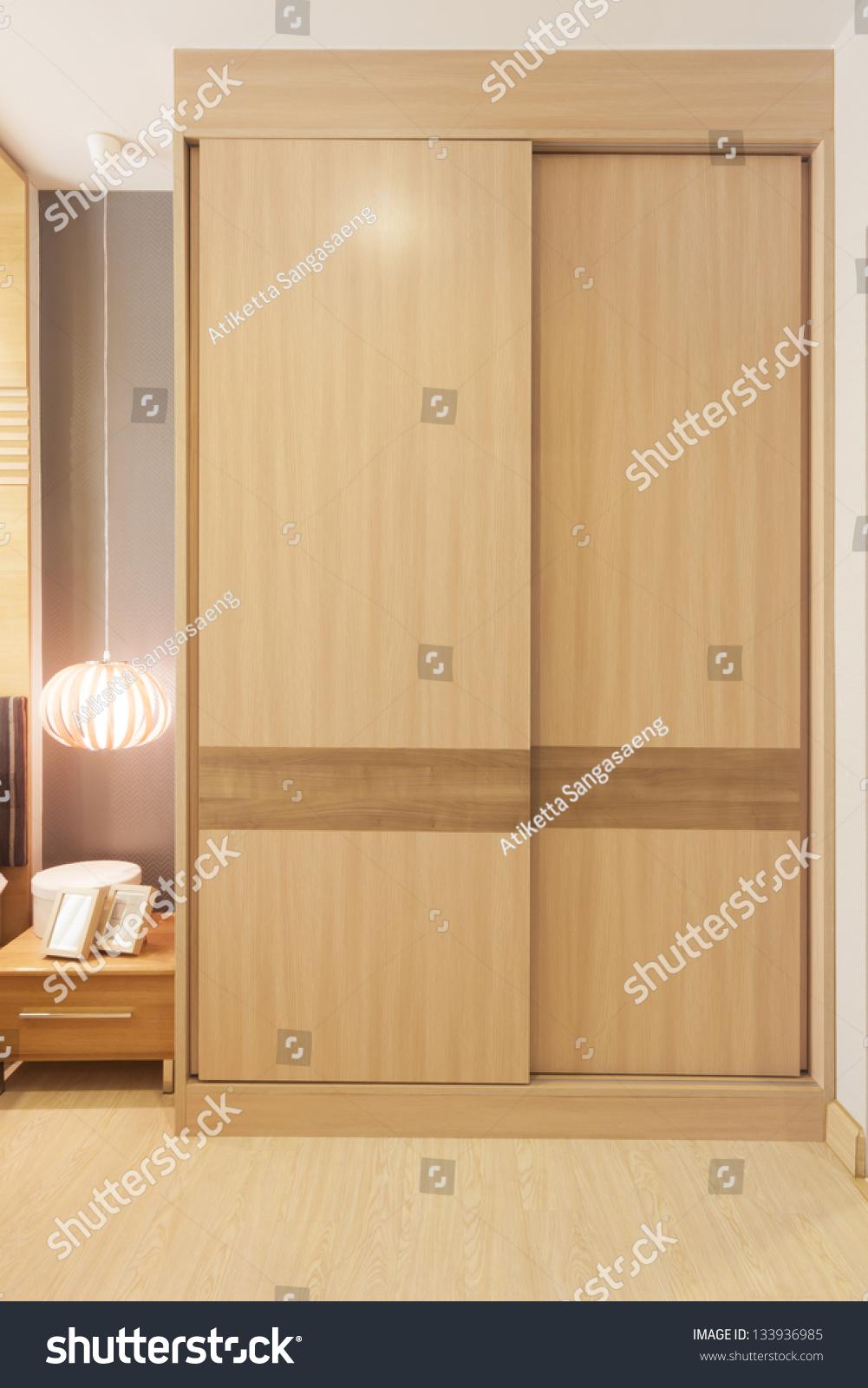 Stock Room Doors : Sliding doors wardrobe furnishing small room stock photo