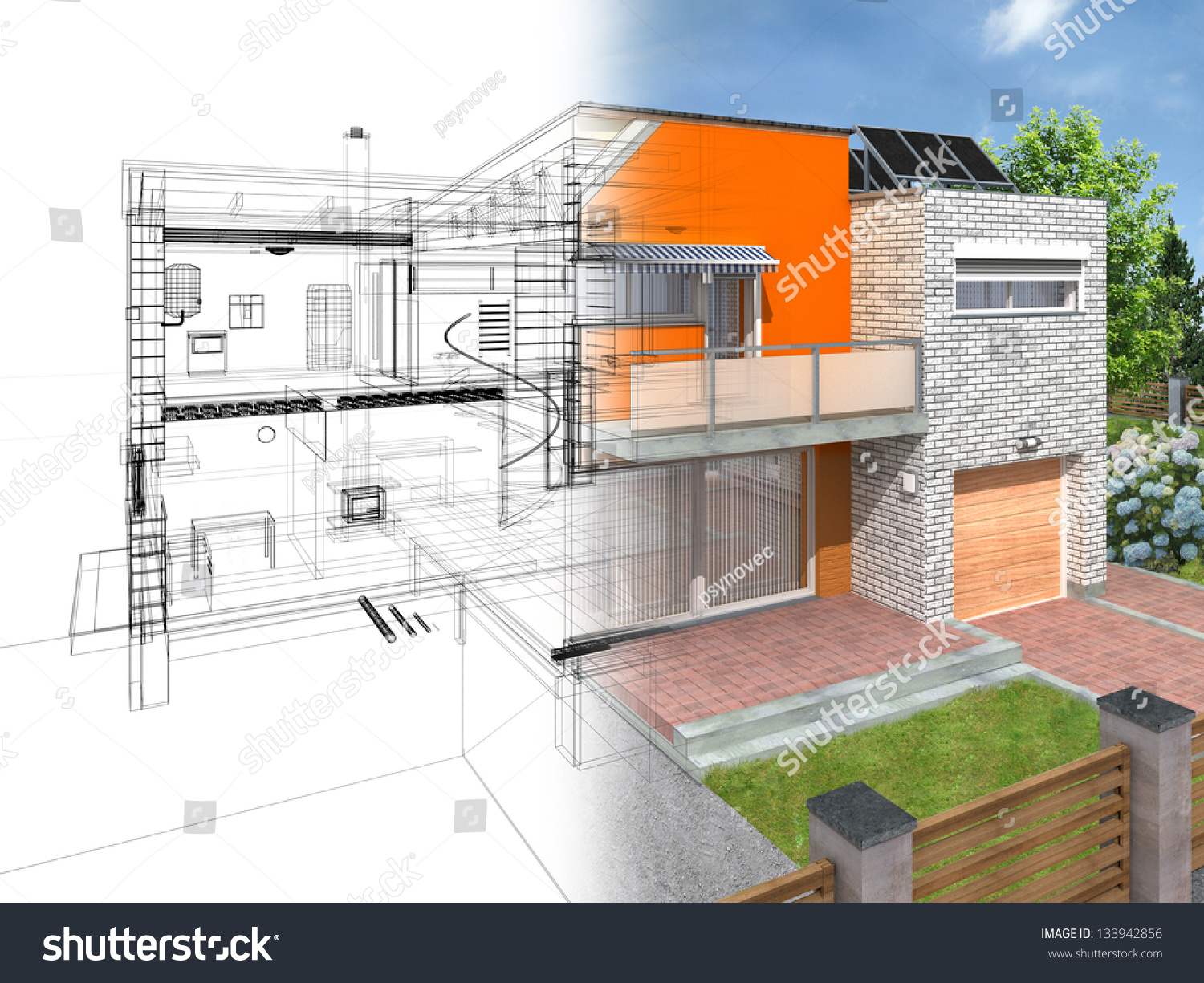 Modern House Section Visible Infrastructure Interior Stock ... - ^