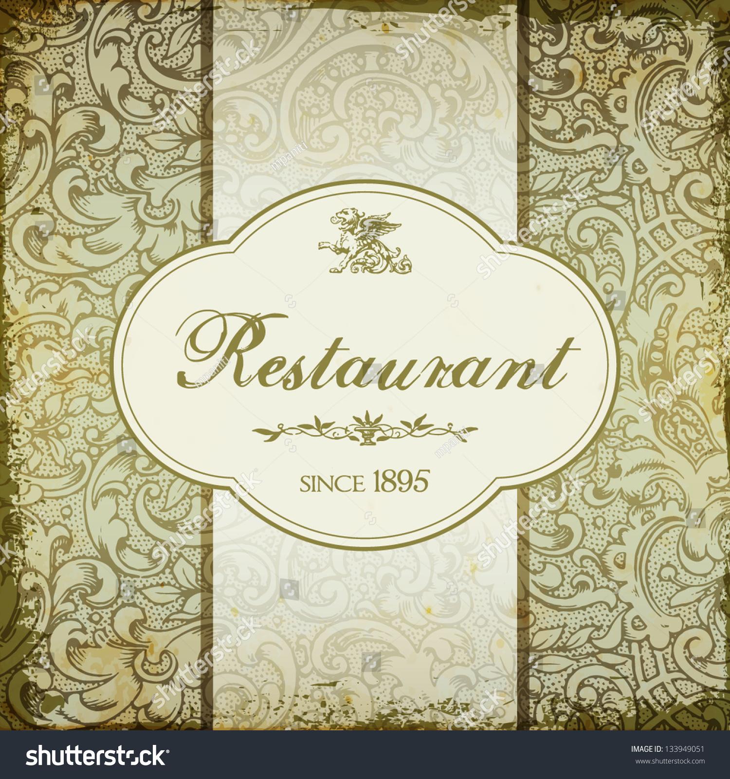 Vintage Elegant Restaurant Menu Card Floral Stock Vector