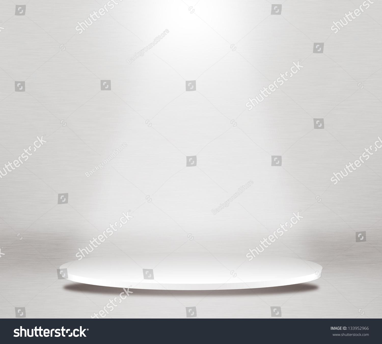 White Studio Background With Podium: Round Podium White Background Stock Illustration 133952966
