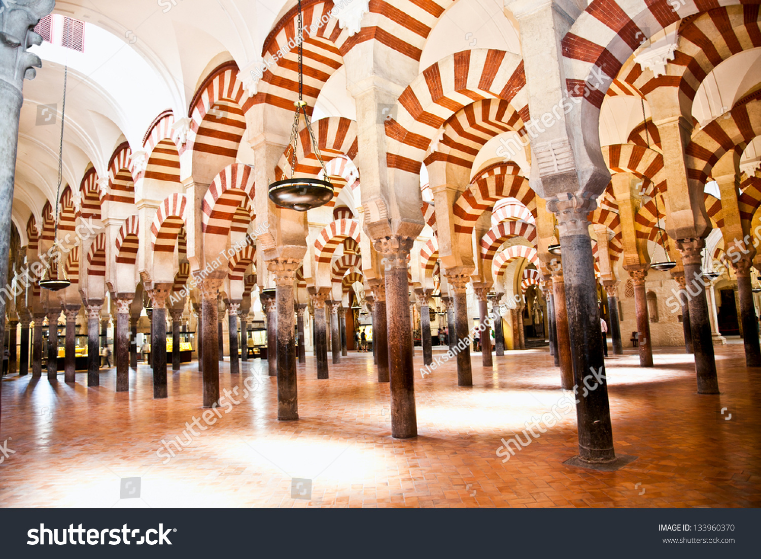 The Great Mosque And Cathedral Mezquita Famous Interior In Cordoba, Andalusia...