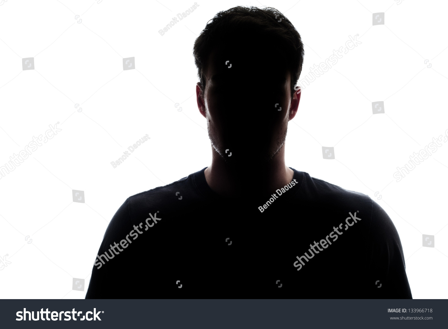 Typical upper body man silhouette wearing a t-shirt - mysterious face #133966718