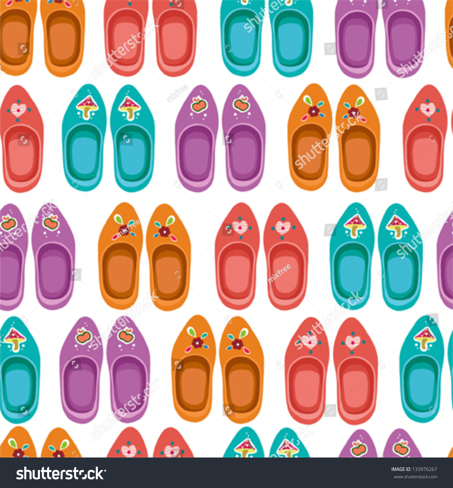 retro seamless pattern clogs famous traditional stock vector