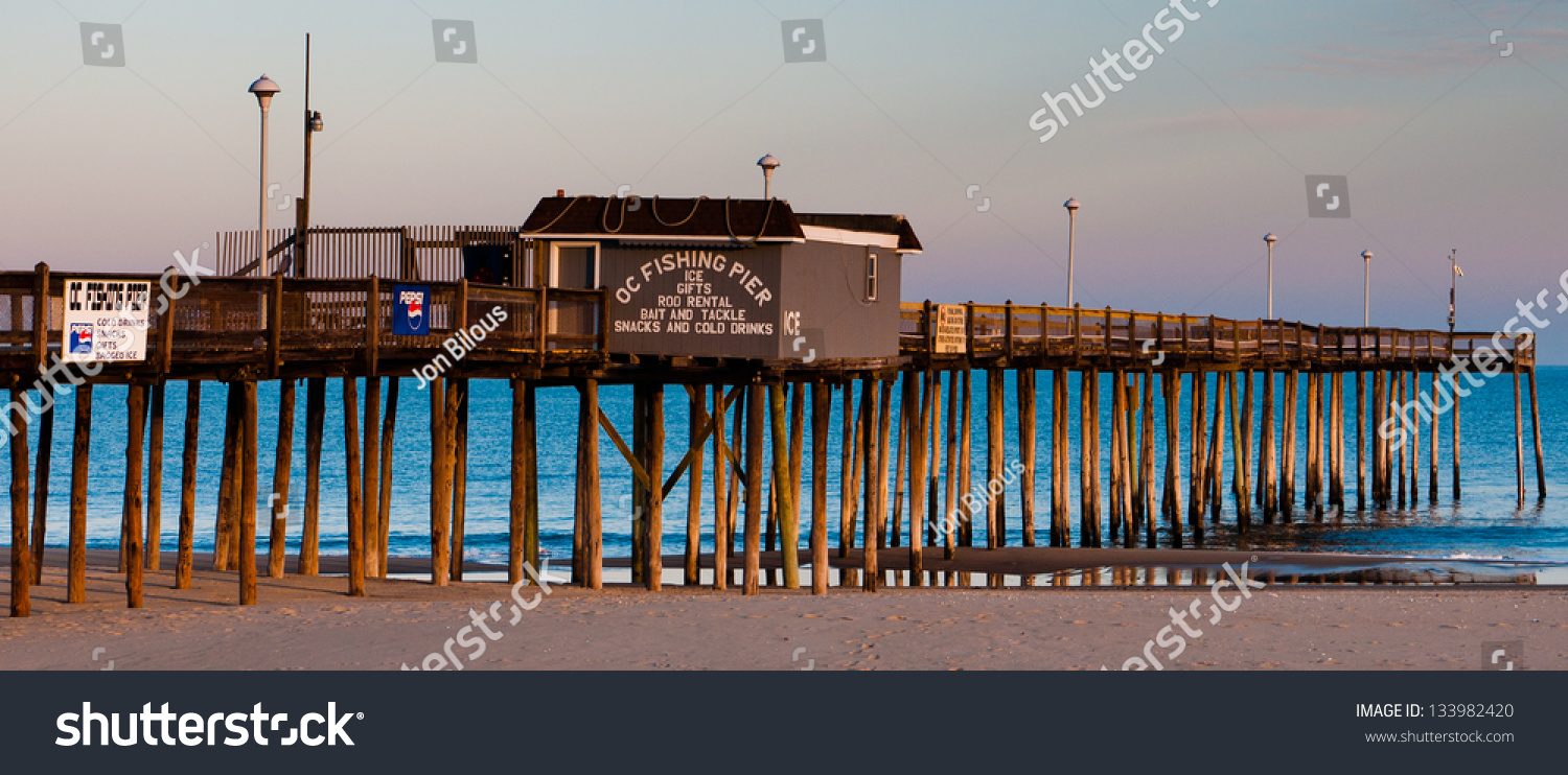 The fishing pier at ocean city maryland stock photo for Maryland fishing piers