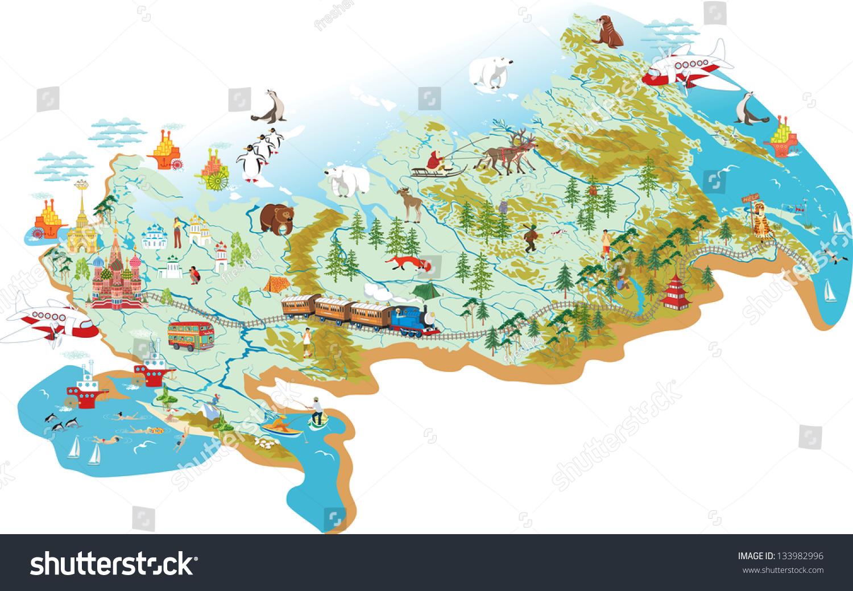 Cartoon Vector Map Russia Symbol Moscow Stock Vector 133982996