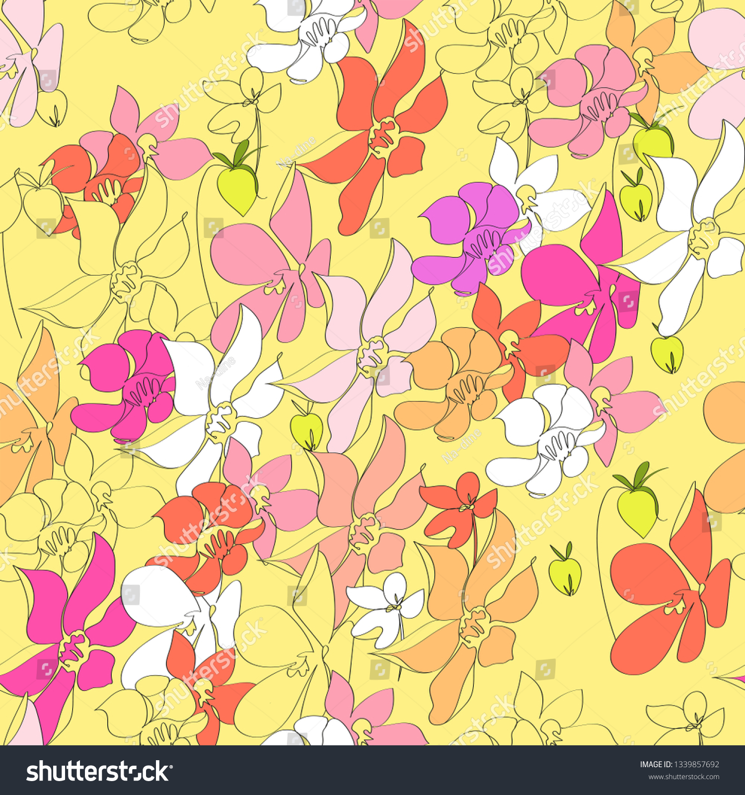 Seamless Pattern Abstract Summer Flowers Vector Stock Vector