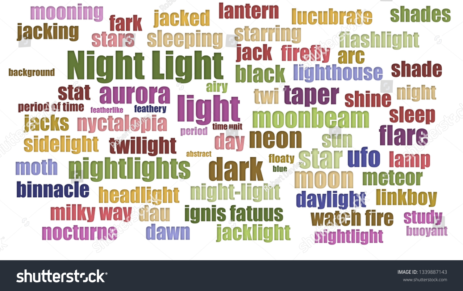 Night Light Tag Cloud Rows On Stock Illustration 1339887143