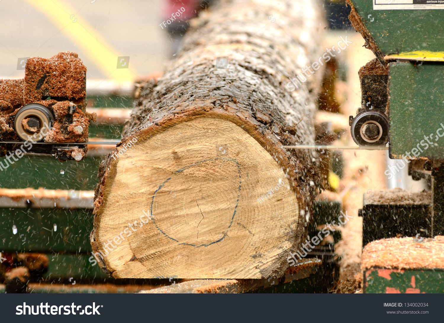 Small Portable Bandsaw Sawmill Being Used Stock Photo