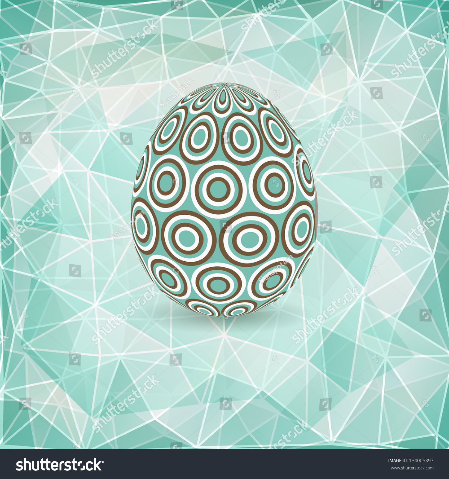 Colorful Easter Egg On Abstract Geometric Background With