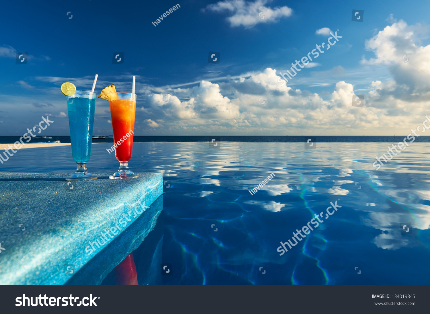 Cocktails Near The Swimming Pool Stock Photo 134019845 Shutterstock