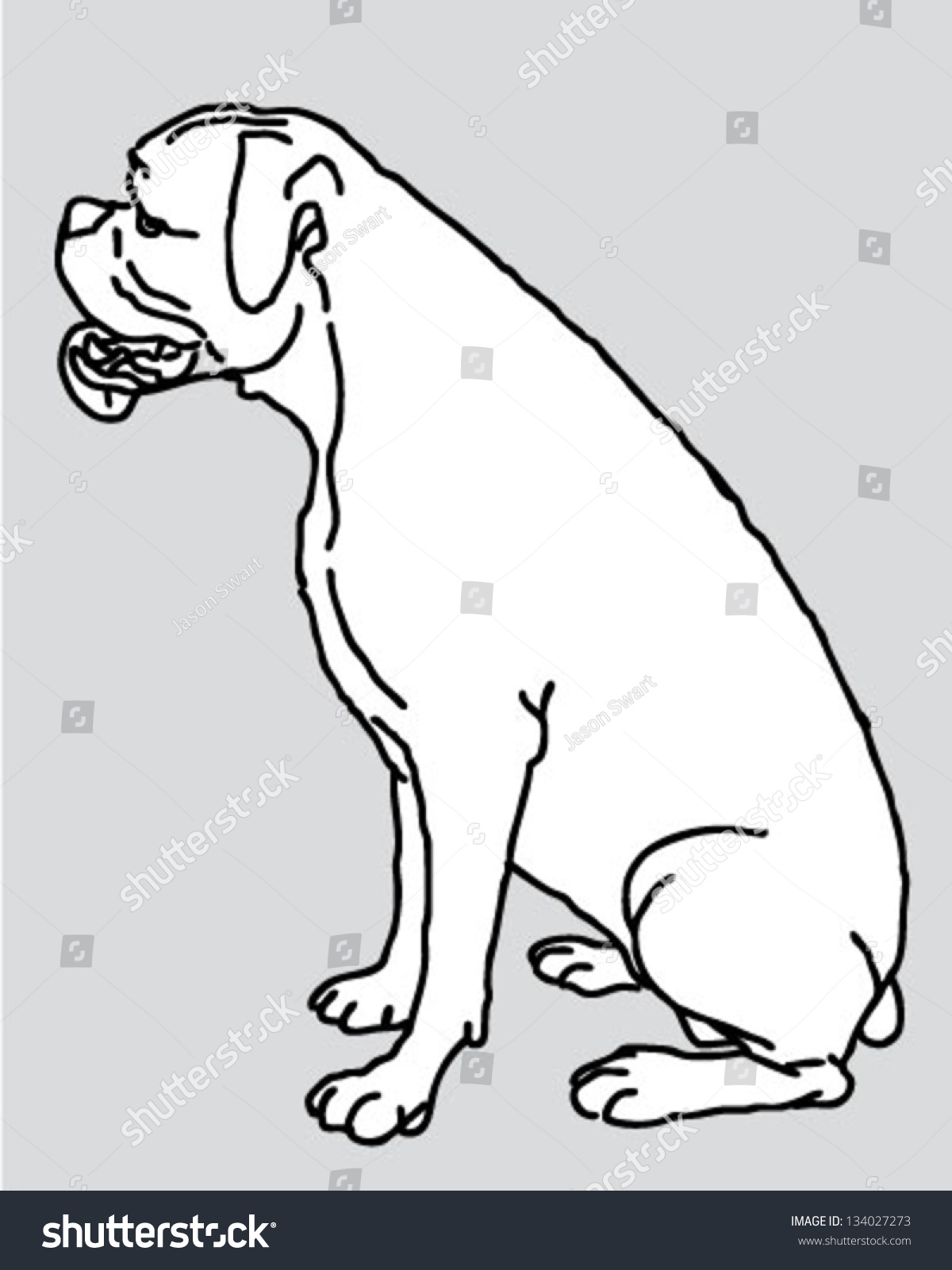 dog boxer sitting begging profile line stock vector 134027273