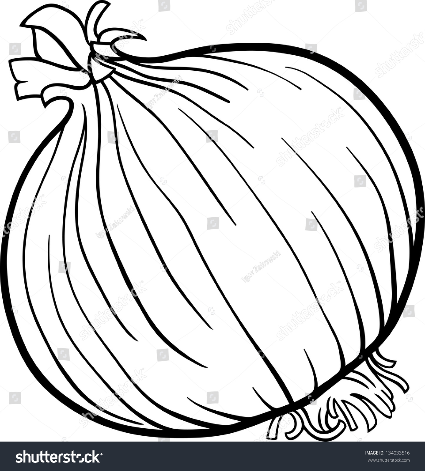 Black White Cartoon Illustration Onion Root Stock Vector 134033516 ...