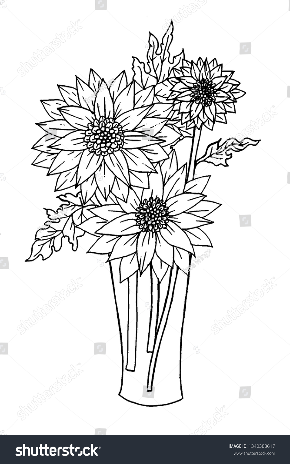 - Page Coloring Book Flowers Vase Doodles Stock Illustration 1340388617