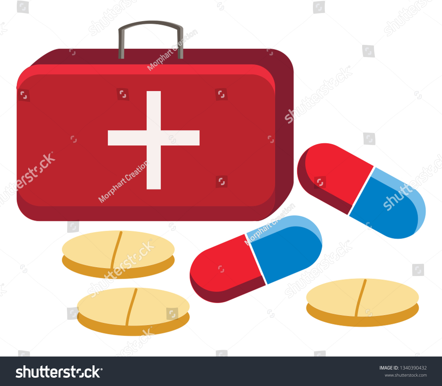 First Aid Box Different Tablets Capsules Stock Vector