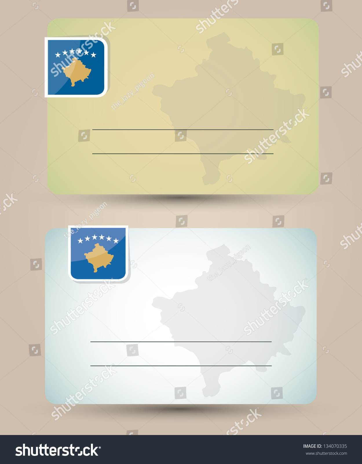 Business Card Flag Map Kosovo Stock Illustration 134070335 ...