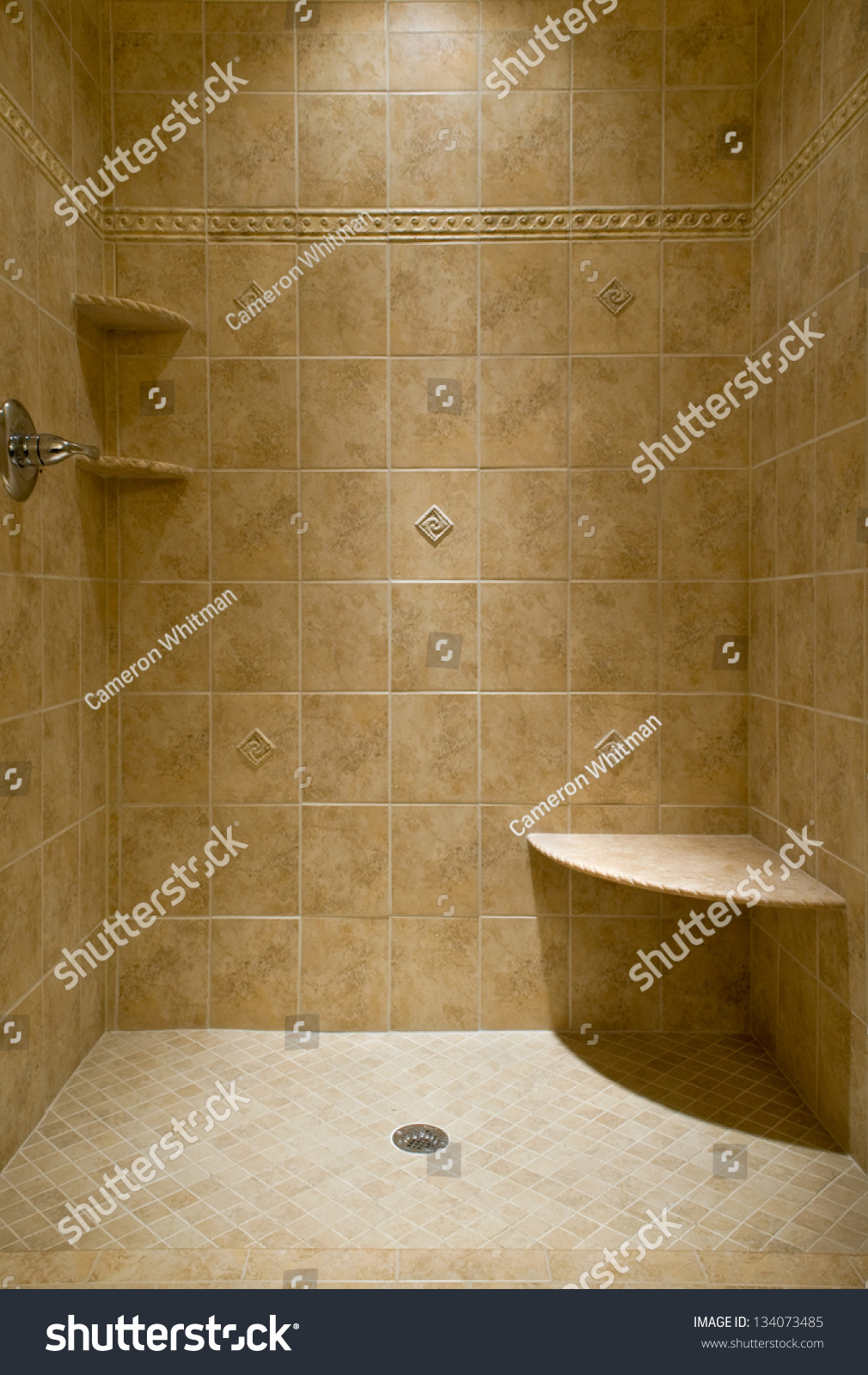 Custom Tiled Stand Shower Stock Photo (Royalty Free) 134073485 ...