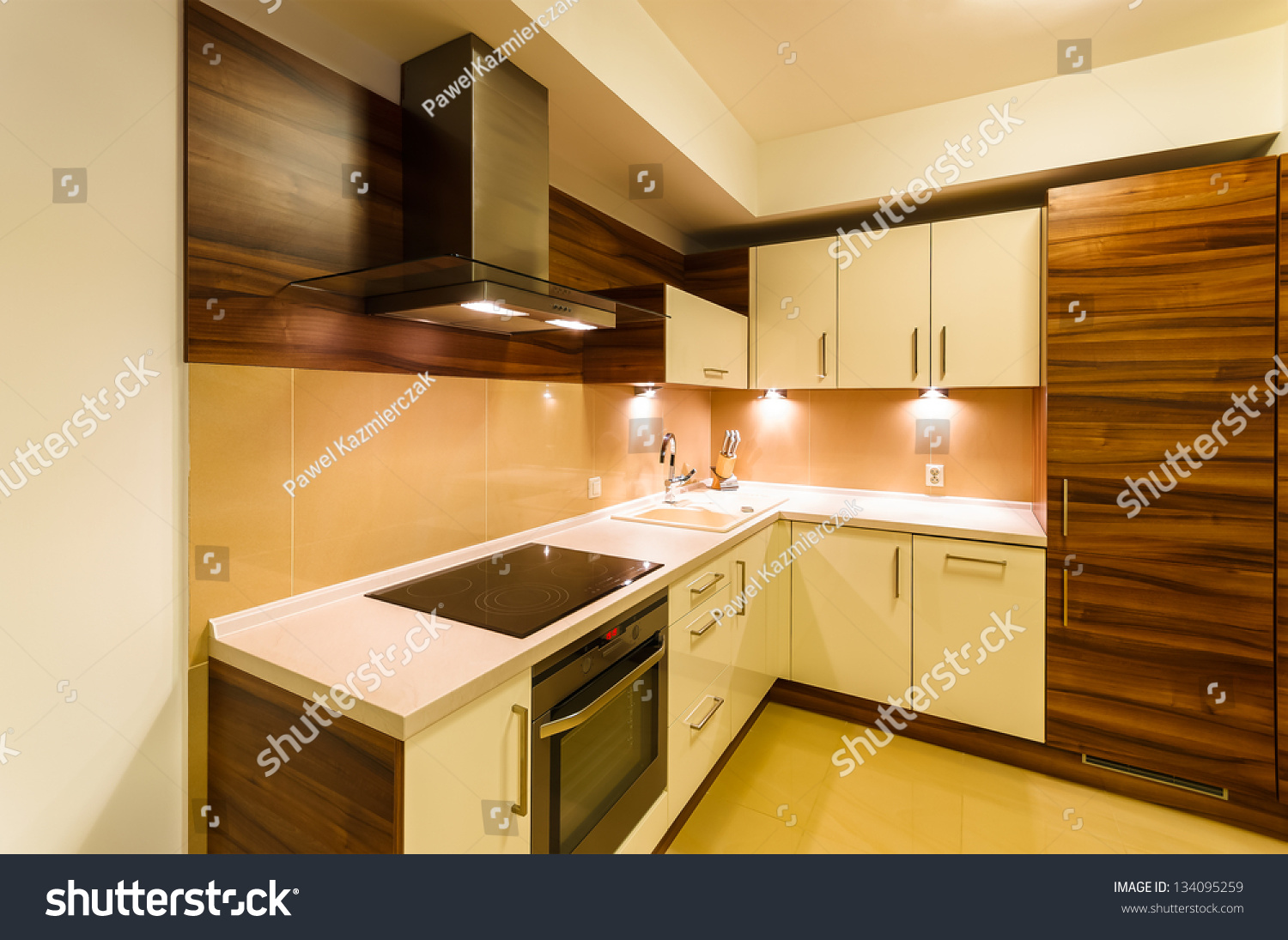 Modern New Kitchen Apartment Lights Krakow Stock Photo