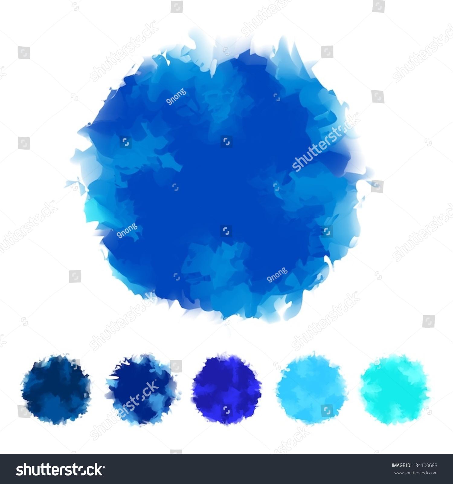 set blue tone water color round のベクター画像素材 ロイヤリティ