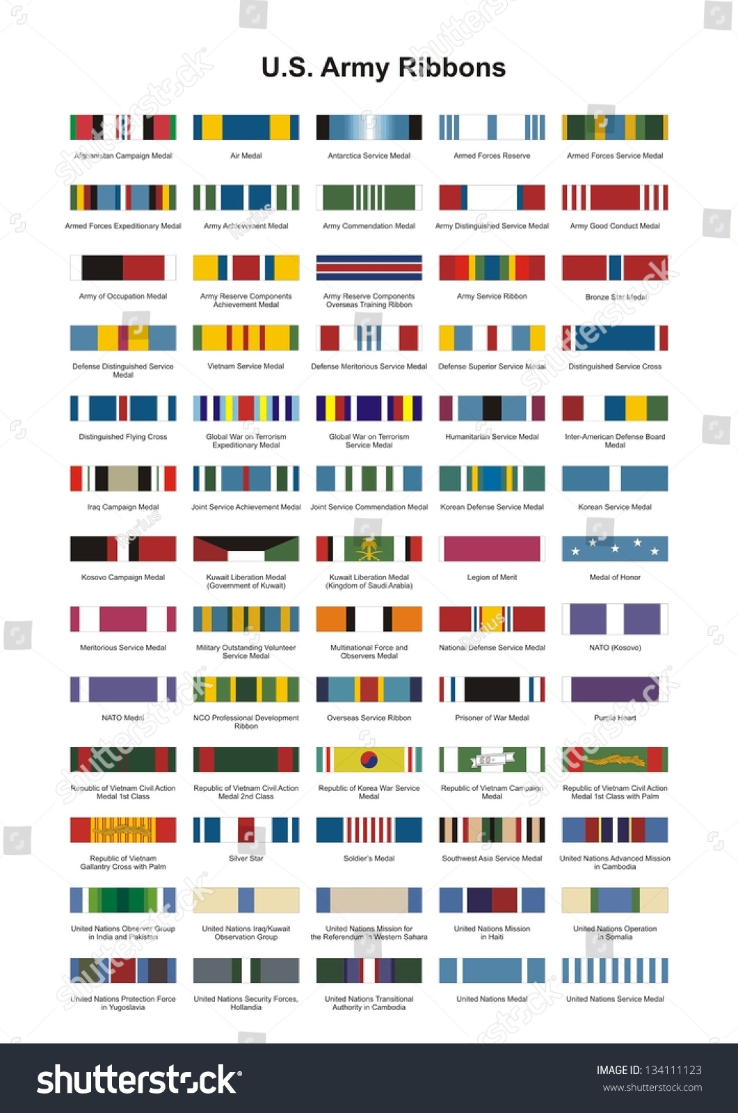 U s army award medal ribbons complete vector set for Army awards and decoration