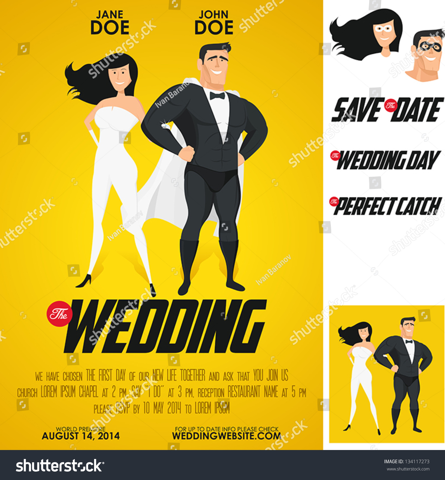Funny Super Hero Movie Poster Wedding Invitation. No