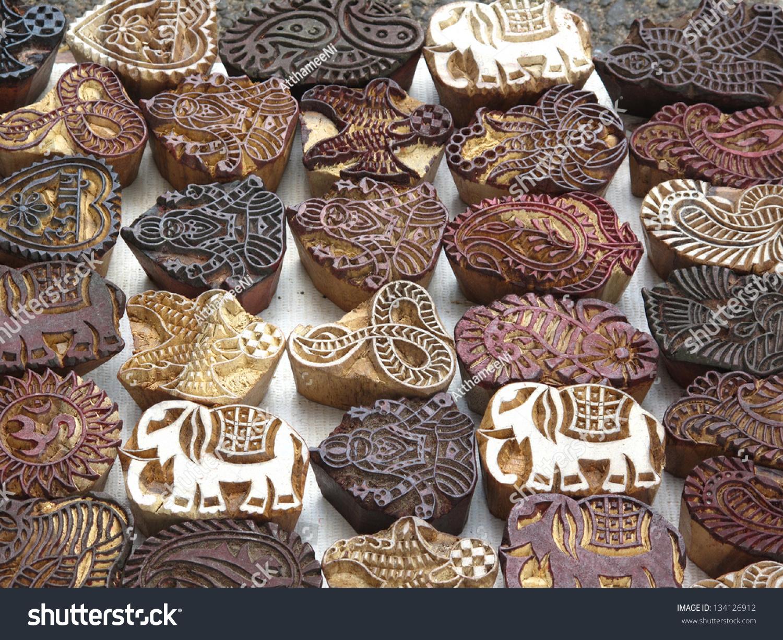 Indian wood carving printing block stamp stock photo