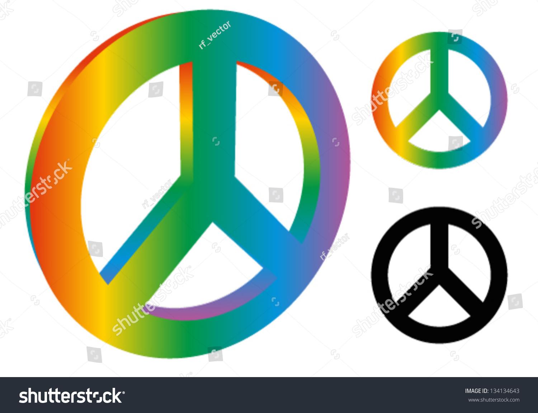 Peace sign peace symbol 3d version stock vector 134134643 shutterstock peace sign peace symbol 3d version 3 variation rainbow colors black biocorpaavc Images