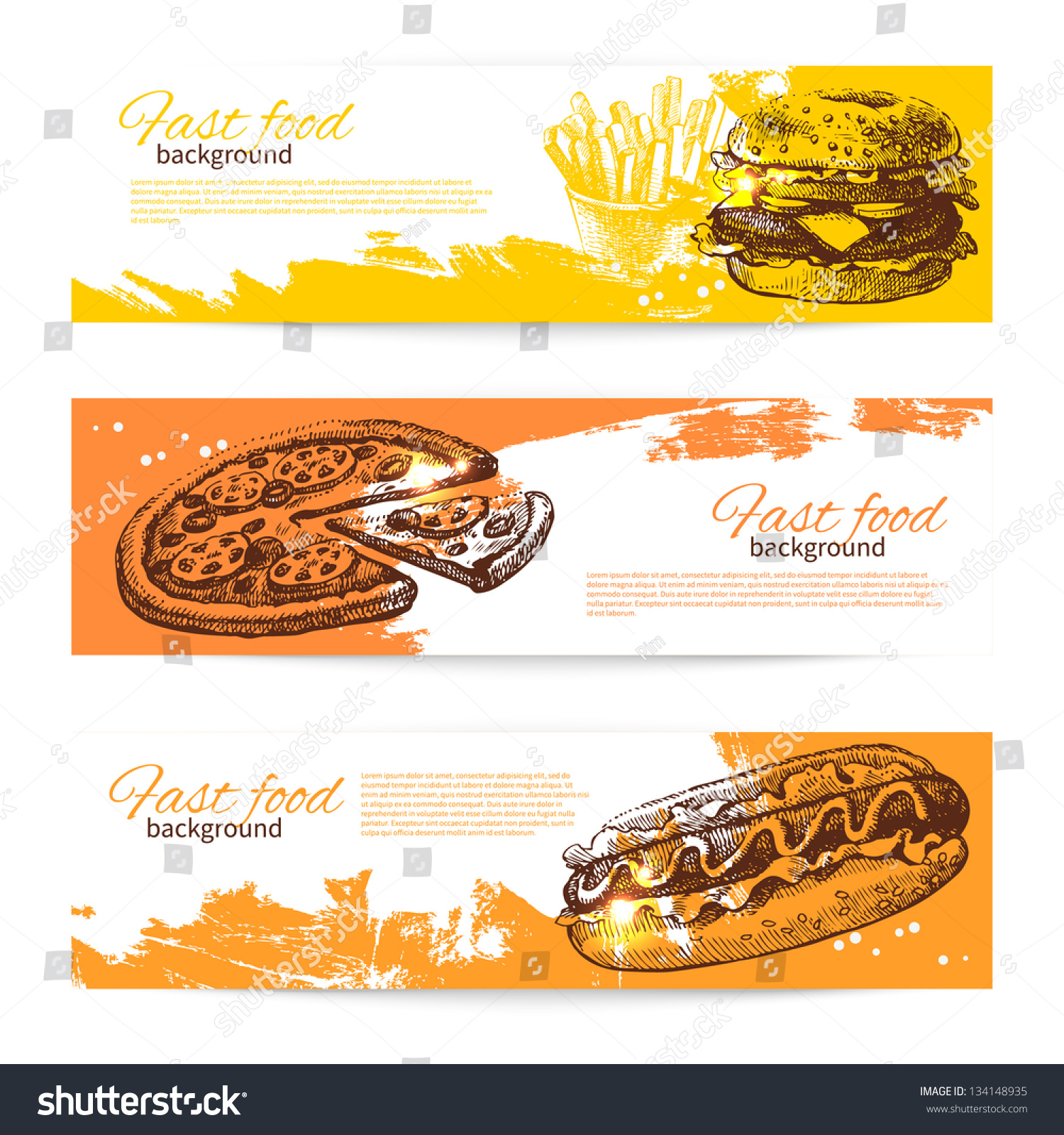 banners fast food design hand drawn stock vector 134148935