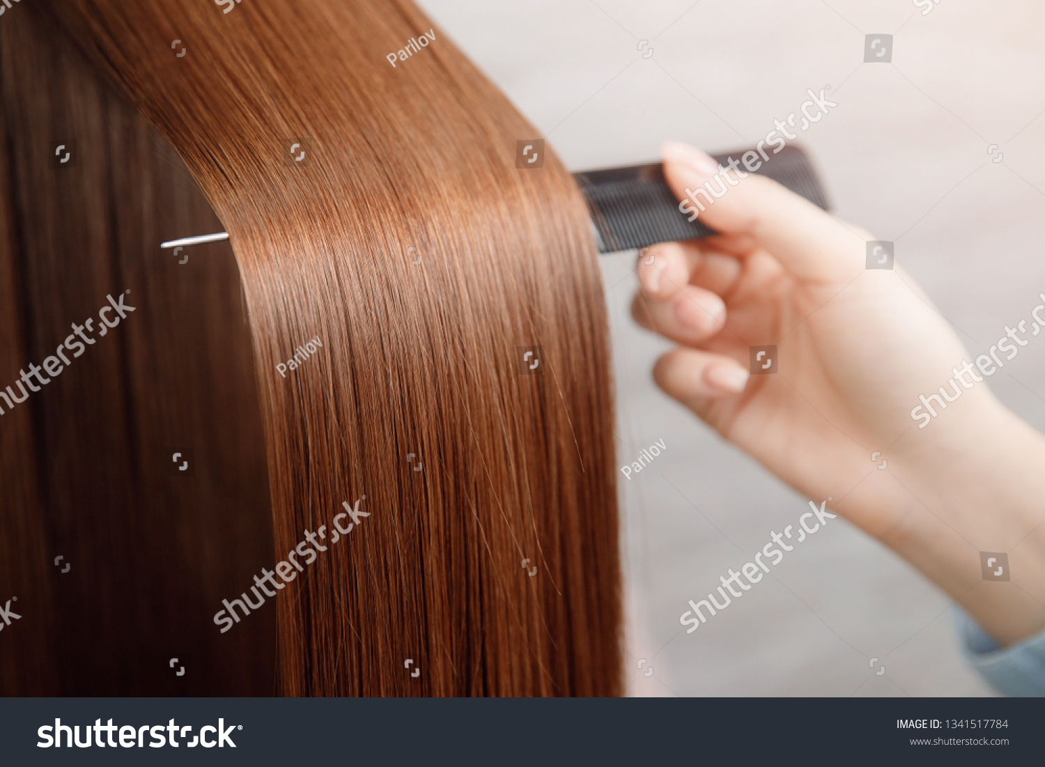 Saturated healthy shiny hair after dyeing. Concept of recovery structure. #1341517784
