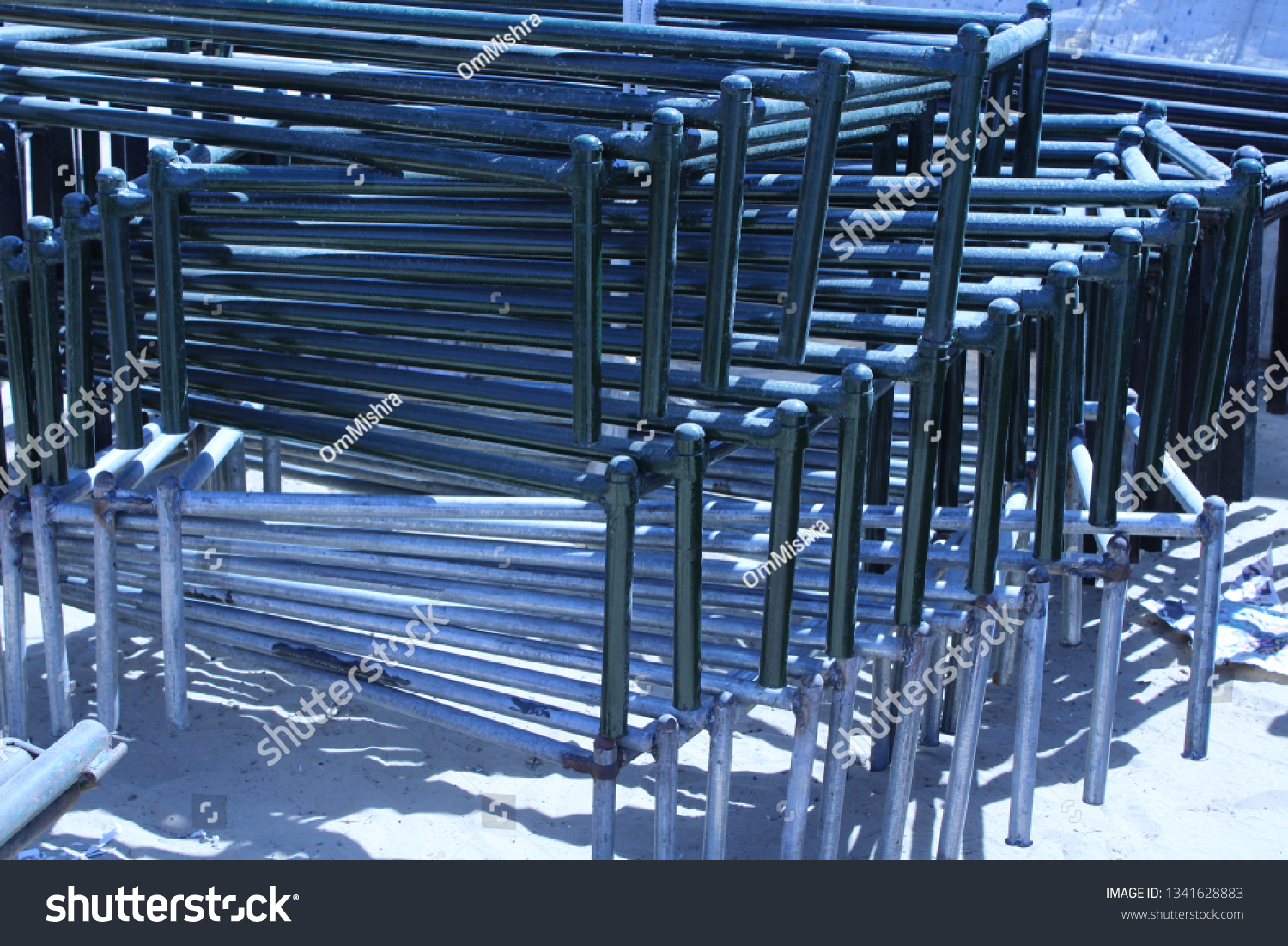 Group Large Blue Wrought Iron Bed Stock Photo Edit Now 1341628883