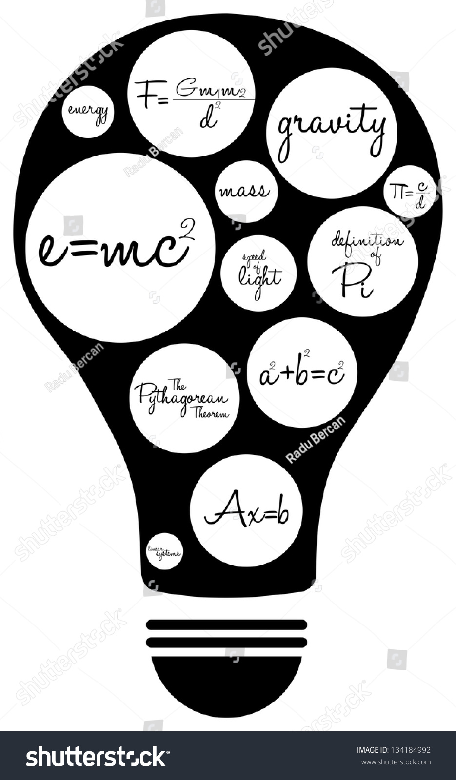 Light bulb famous mathematical equations stock vector hd royalty light bulb with famous mathematical equations malvernweather Images