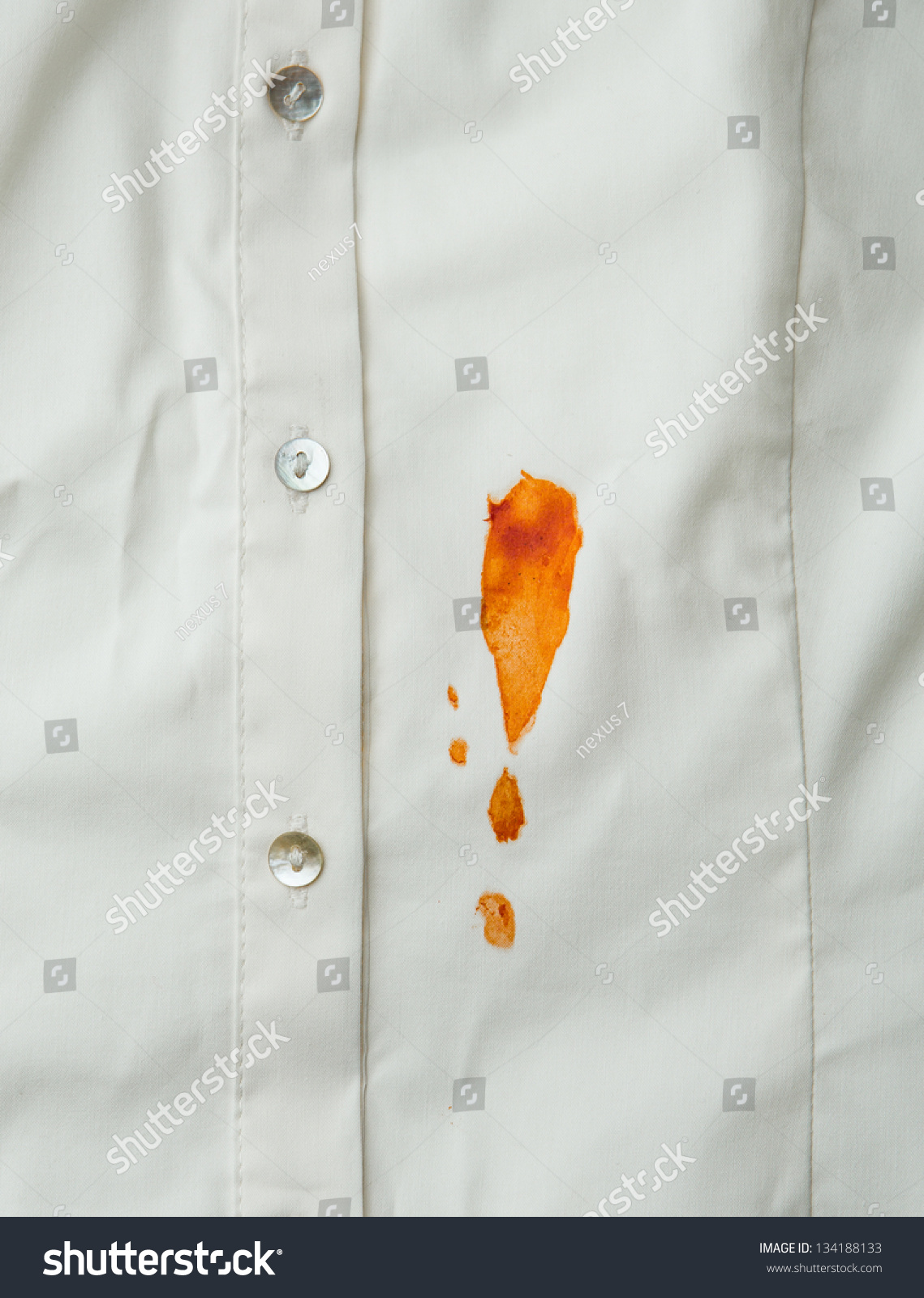 tomato sauce stain on shirt stock photo 134188133