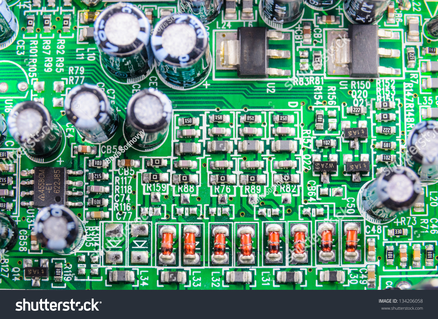 Radio Components On Printed Circuit Board Stock Photo Edit Now Picture Of A Close Up