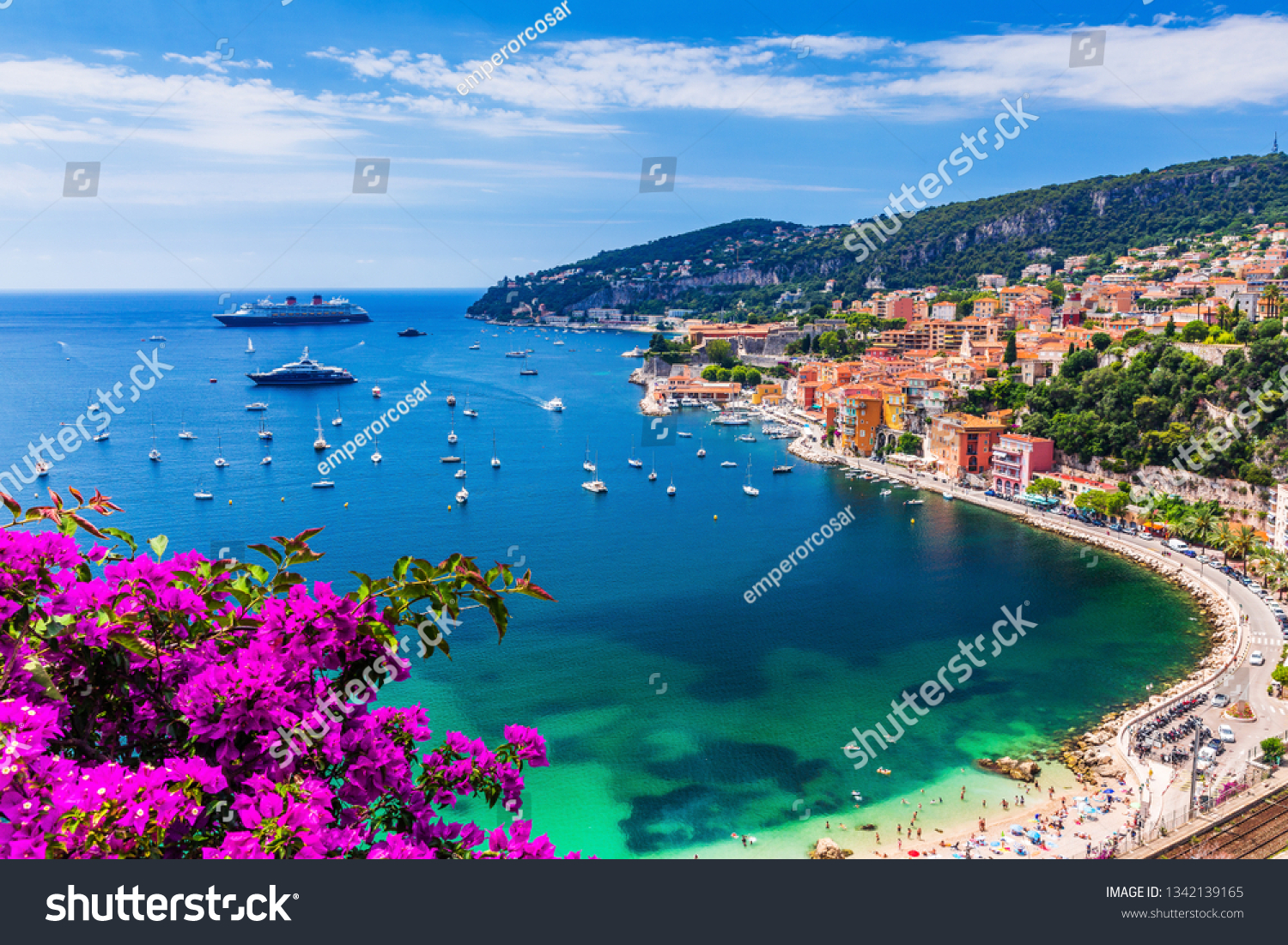 Villefranche sur Mer, France. Seaside town on the French Riviera (or Côte d'Azur). #1342139165