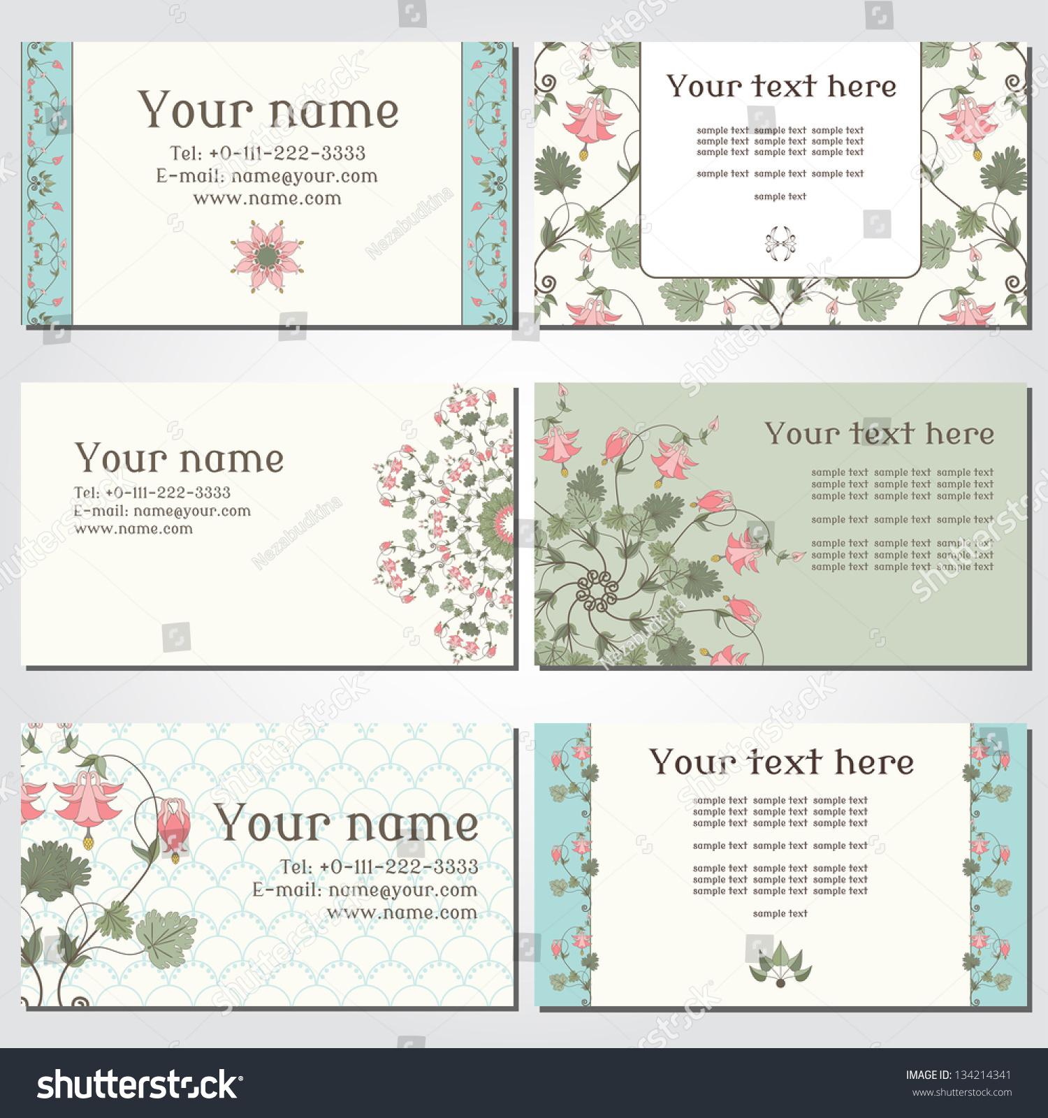 set six horizontal business cards vintage stock vector