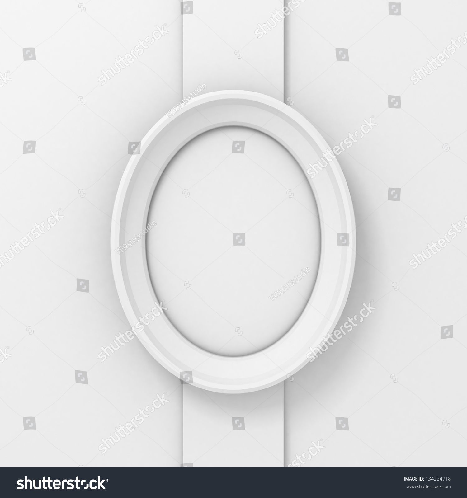 Empty White Oval Picture Frame On Stock Illustration 134224718 ...