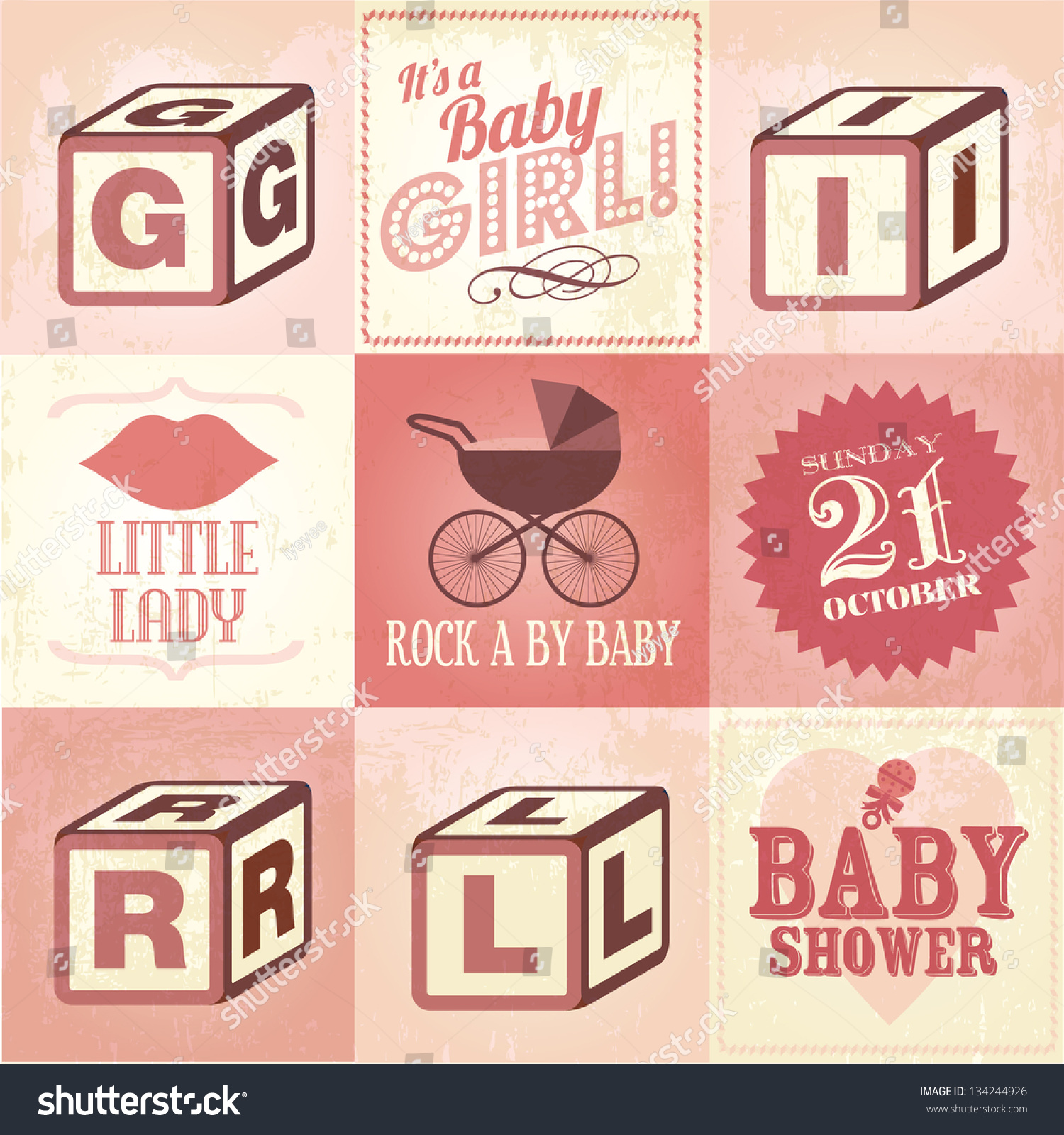 Vintage Baby Shower Card Template Invitation Stock Vector Royalty